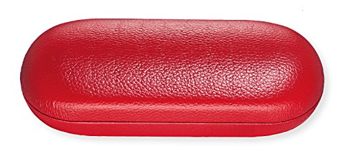 Hard Eyeglass Case For Women & Men, Small To Medium Frames, Faux Leather, Red