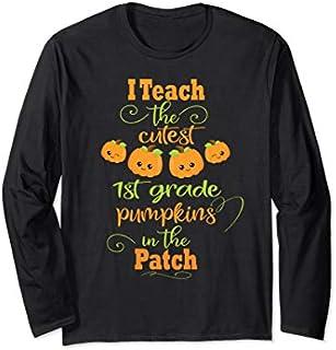 Halloween Cutest Pumpkins Funny First Grade Teacher Gift Long Sleeve T-shirt | Size S - 5XL