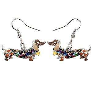 NEWEI Enamel Alloy Dachshund Dog Earrings Dangle Drop Fashion Cute Animal Jewelry for Women Girls Gift Charms