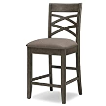 Leick 10084GS/MH Wood Double Cross Back Counter Height Barstool, Greystone Finish, Moss Heather Seat, Set of 2