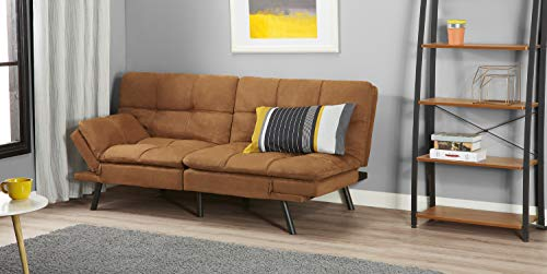 Bed Futon Sofa Couch Mattress Contemporary Design with Memory Foam and Split Seat Upholstered in Soft Durable and Heavy Duty Back Foldable Winged Armrest | Multiple Finishes (Camel Suede)