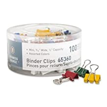 Business Source Products - Binder Clips, Mini, 9/16amp;quot;W, 1/4amp;quot; Capacity, 100/PK, Assorted - Sold as 1 PK - Colored fold-back binder clips deliver a powerful grip to hold large stacks of papers in place. Clips are made of rust-resistant steel and come in a soft plastic tub. by Business Source - Products