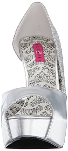 Tee41w Glitter Leather Faux Silver D'Orsay Mcg Silver Multi Leather Label Women's Faux Pink Glitter Pleaser Spu Pump multi TxgwqntU