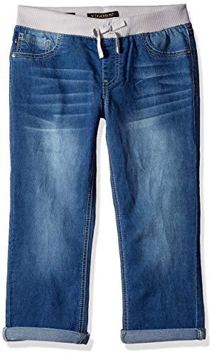 Vigoss Girls' Knit Waist Crop, True Blue/Pink, -