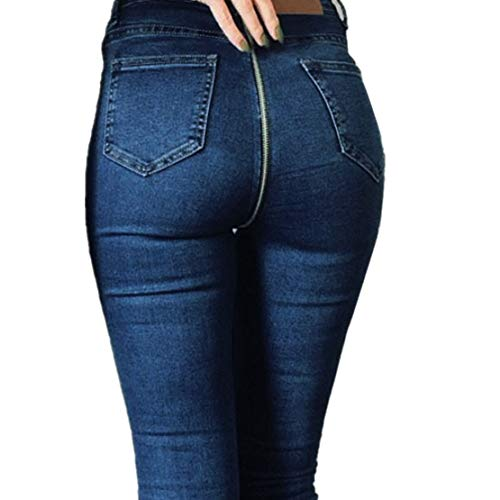 - NEEKEY Women Back Zipper Pencil Stretch Denim Skinny Jeans Pants High Waist Trousers(M,Blue)