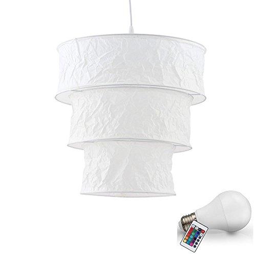 7 Watt RGB LED Pendel Leuchte Reis Papier Decken Lampe Farbwechsel Hänge Beleuchtung