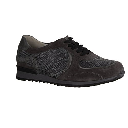 Waldläufer Hurly 370005-007 - Zapatos cómodos / relleno suelto Zapatos mujer Cómodo Zapatos de cordones, Gris, cuero (terciopelo/eclis/nak-stretch)
