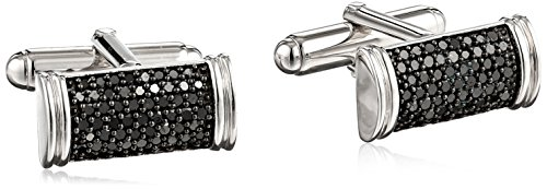 Cufflinks Cut Silver (Sterling Silver Black Diamond Men's Cuff Links (1 cttw))