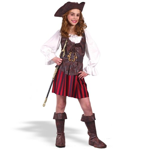 High Seas Buccaneer Pirate Costume Girl - Small 4-6