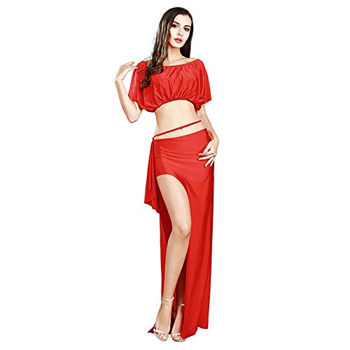 ROYAL SMEELA Belly Dance Costume for Women Belly Dancing Skirt Bat Sleeve Top Backless Belly Dancing Outfit Carnival Costumes Red -