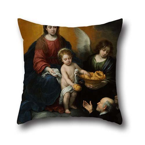 Slimmingpiggy The Angel Sends The Bread To The Old Man 16x16 Inch Pillow Case Throw Pillow Case Of 16 X 16 Inches tw 40 By 40 Cm Decoration,gift For Play Room,bedroom,couch,sofa,girls,dance Room