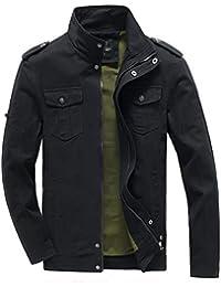 Men's Military Stand Collar Lightweight Jacket Casual Windbreaker Outdoor Coat