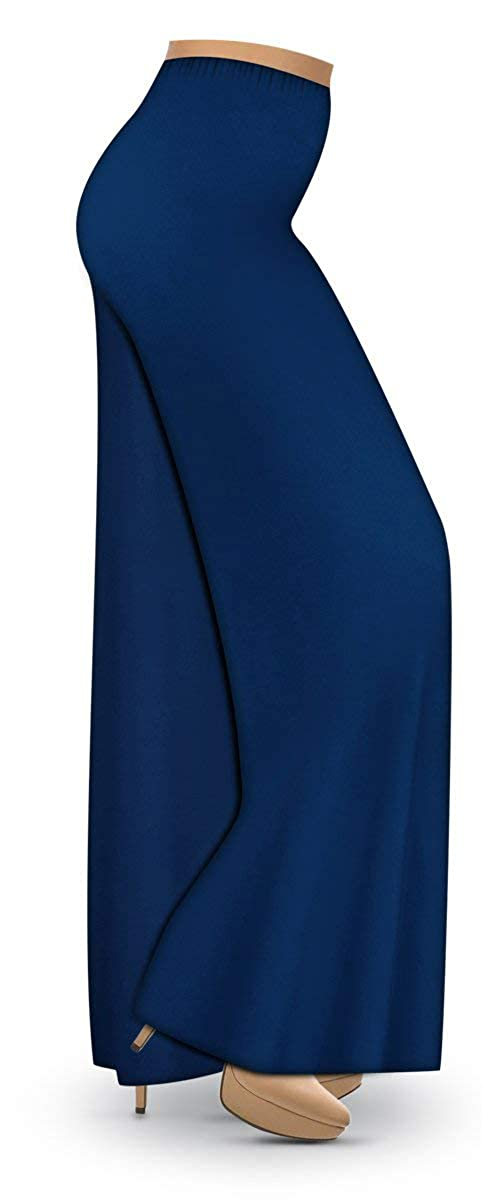 626f2b46bfe Sanctuarie Designs Navy Poly Cotton Jersey Knit Wide Leg Plus Size  Supersize Palazzo Pants at Amazon Women s Clothing store