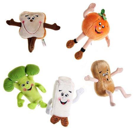 "Set of 5 Food Group 7"" Plush Toys - Broccoli, Orange, Bread, Peanut & Milk Carton"