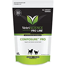 VetriScience 026664000101 Composure Pro Bite Size Chews for Dogs and Cats Chicken Flavor Pet Relaxants