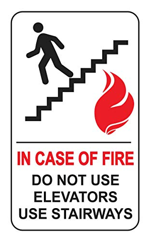 - in Case of Fire Do Not Use Elevators Use Stairways Label - Decal Sticker for Public Safety, Meet Fire Safety Codes, 8