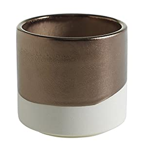 White and Gold Round Ceramic Planter - 4 x 3.75 Inches - Qdoba Matte Cream and Glossy Metallic Pot w/ Brass Interior - Modern Global Vase Decor for Home or Office 38