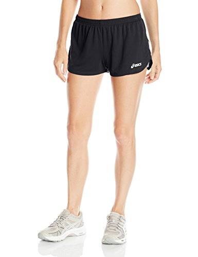 ASICS Women's Break Through 1/2 Split Shorts, Black/White, Medium ()
