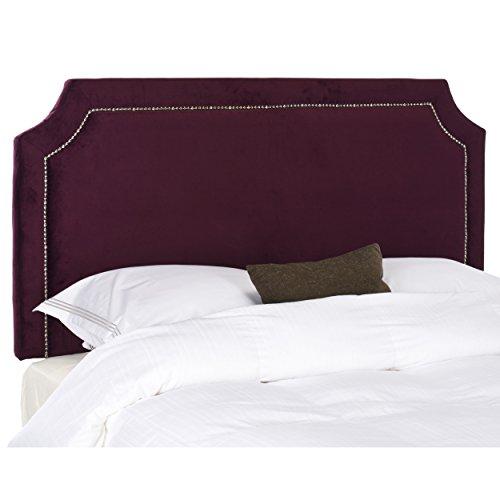 Bordeaux Red Frame - Safavieh Shayne Bordeaux Upholstered Headboard - Silver Nailhead (Queen)