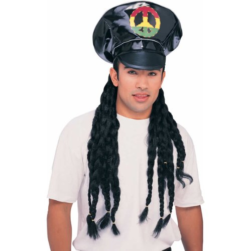 Jamaican Peace Sign Rasta Hat and Hair Dreadlocks Wig Reggae Costume Accessory