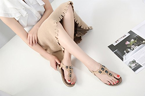 Femme Taille Nouvelle Américain Plates Chaussures Et Grande XIAOQI Beige Strass Bohème Sandales 2018 Européenne txI4nwqd4z