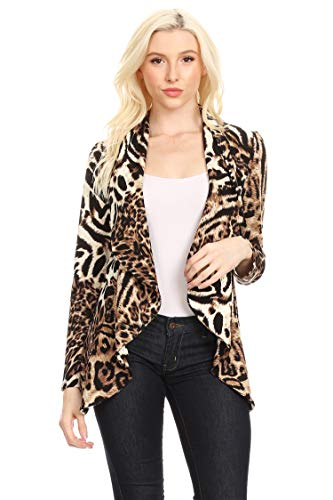 - Solid Print Casual Long Sleeves Stretch Open Front Blazer Jacket/Made in USA Animal Mocha S