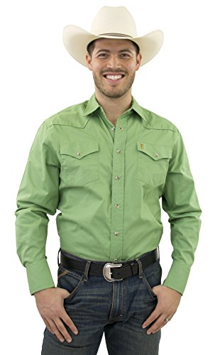 STARR 100% Cotton Men's Snap Western Shirt by Solid Color, Long Sleeve, Modern Fit | SWWLSS18-PISTACHIO-Size-S ()
