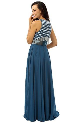 Beauty-Emily Tanques O-Cuello sin mangas rebordear vestido de noche Transparente Azul oscuro