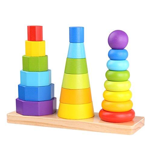 Timy Wooden Geometric Stacker Shape Tower Educational Stack Up Toys for kids