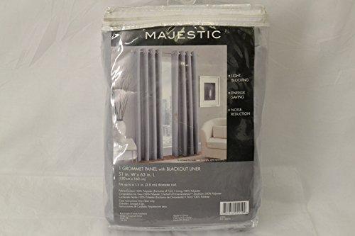 Kensington Home 63-Inch Blackout Lined Window Curtain Steel