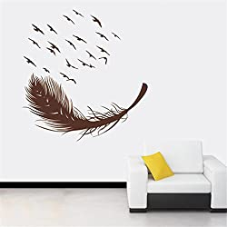 YJYDADA Wall Stickers,DIY Bird Feather Removable Wall Decal Family Home Sticker Mural Art Home Decor,55X86cm (Brown)