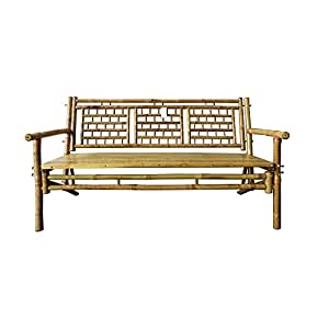 Amazon Com Standard Slat Black Bamboo Bench Garden
