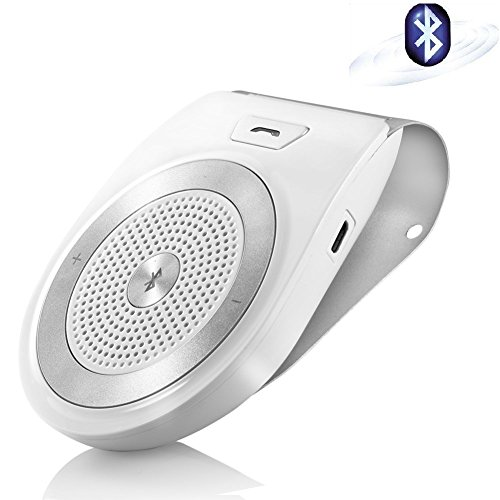 Aigital Bluetooth Car Speakerphone Wireless Handsfree Car Kit AUTO POWER ON Sun Visor Speaker Adapter, Hands-Free Calling Stream Music GPS Navigation Receiver Player – Silver