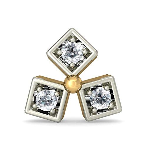 Or jaune 18K 0,06CT TW White-diamond (IJ | SI) Boucles d'oreille à tige