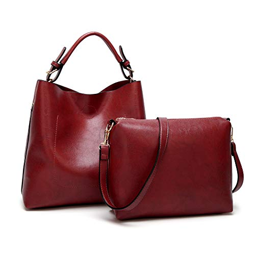 - Clocolor Handbags for Women PU Leather Hobo Shoulder bag Bucket Purse Satchel (Burgundy)