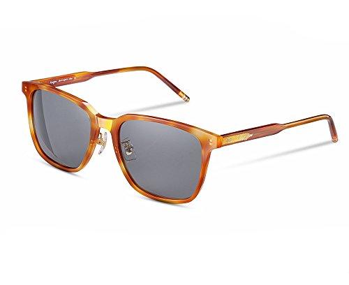 EyeGlow Vintage Square Designer Sunglasses Men and Women Polarized Lens S6801 (Blonde vs Grey Lens, Polarized lens as (Blonde Womens Sunglasses)