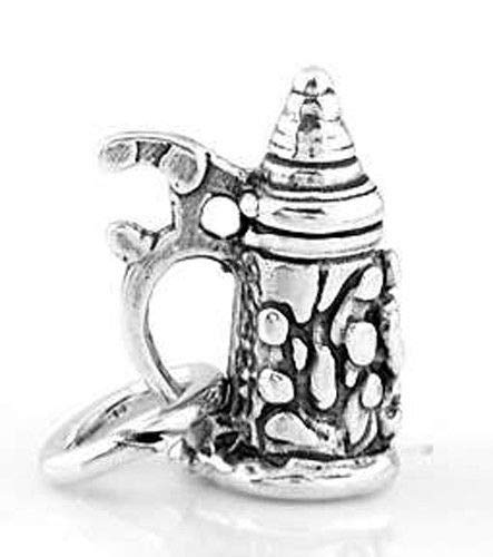 (Sterling Silver Small Beer Stein/Mug Charm/Pendant Jewelry Making Supply Pendant Bracelet DIY Crafting by Wholesale Charms)