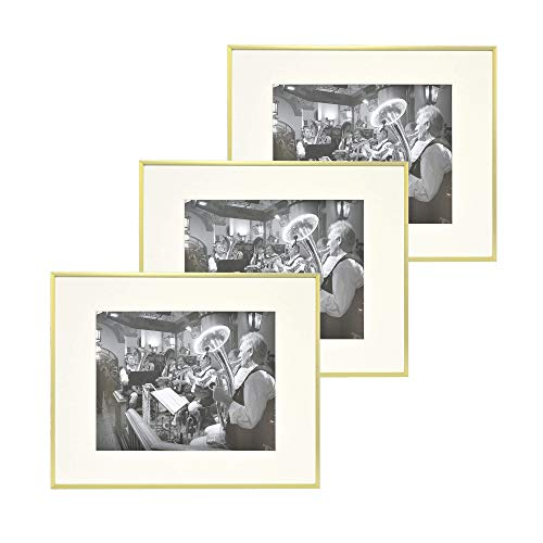 - Golden State Art, Set of 3,Metal Wall Photo Frame Collection, Aluminum Gold Photo Frame with Ivory Color Mat for Picture & Real Glass (16 x 20) (3)