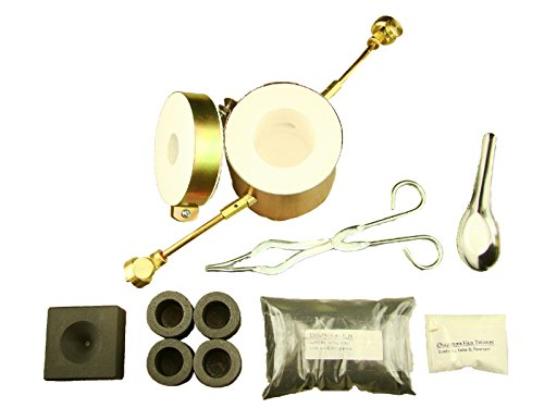 Propane Gas Furnace Kit Mini-Conical Mold, Kiln, Tips, 1lb Chapman Flux, 4-Crucibles, Tongs-Melts Gold / Silver in 10min