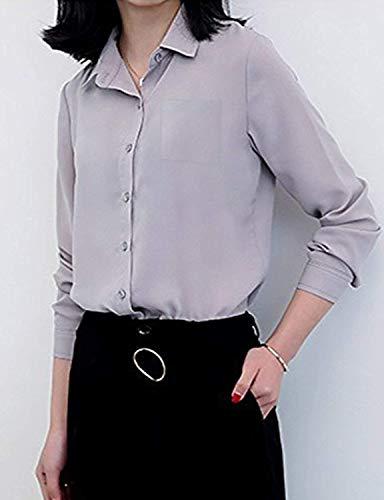 Affaires Simple Style Unicolore Chemise Mode Haut Blouse Manches Large Loisir Longues Office Revers Dame Shirts Boutonnage Elgante Grau Chemisier Blouse Spcial Femme Mousseline xZOCwC4q