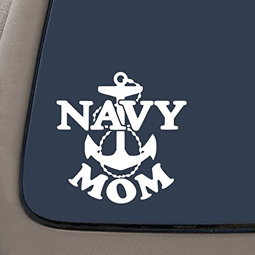 NI981 Navy Mom Military Decal Sticker | 7-Inches By 7-Inches | Premium Quality White Vinyl