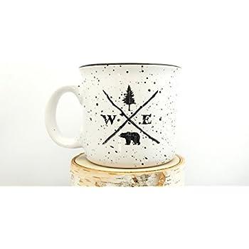 Campfire Mug - Forest Compass - Speckled Color Mug - Screen Printed Coffee Mug