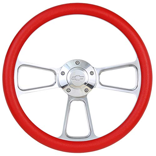(Red Steering Wheel 14 Inch Aluminum with Chevy Installation Adapter and Horn)