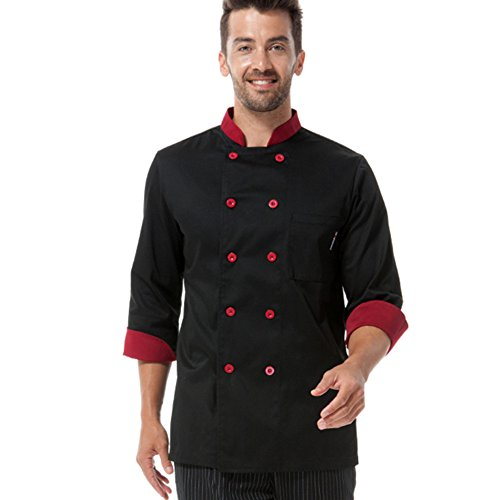Chef coat black with red uniforms and red long sleeve chef jacket unisex (XL) by ChefsUniforms