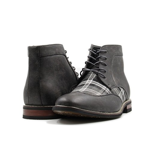 Men's Lace up Plaid Oxford Wing Tip Dress Classic Formal Ankle Boots (10, Grey/Grey/White) by Stylish & Comfort
