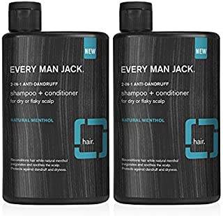 product image for Every Man Jack 2-in-1 Anti-Dandruff Shampoo + Conditioner - Natural Menthol | 13.5-ounce Twin Pack - 2 Bottles Included | Naturally Derived, Parabens-free, Pthalate-free, Dye-free, and Certified Cruelty Free