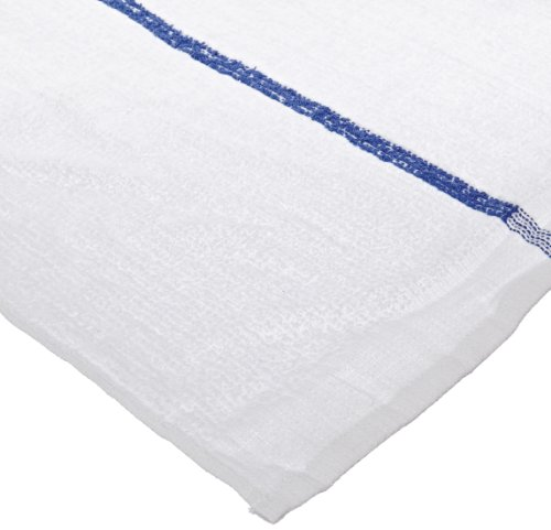 Chef Revival 700BRT Cotton Blue Striped Bar Towel, 19 by 16-Inch, White, Pack of 12
