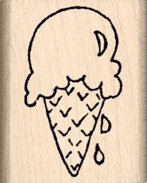 Ice Cream Cone Rubber Stamp - 1 inch x 1-1/4 inches (Rubber Stamp Ice Cream compare prices)