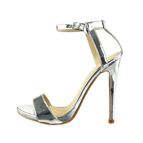 Angkorly - Chaussure Mode Sandale Escarpin stiletto sexy Chic femme lanière brillant Talon haut aiguille 12.5 CM - Argent
