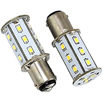 GoldenGadgets - 2 Pack - BA15D 1076 1142 1157 RV LED Bulb Replacement - 18 LED - White - 300 Lumens